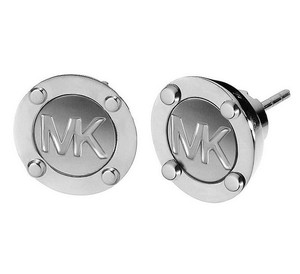 Michael Kors Michael Kors MKJ1667 Women's MK Logo Button Stud Silver tone Earrings