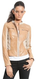 Leith Beige Leather Jacket
