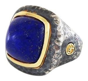 David Yurman Hammered Albion Ring with 18K Gold and Lapis Lazuli