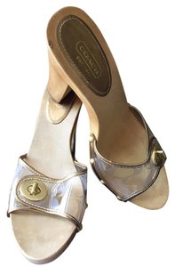 Coach Platform Gold Monogram Bronze and light wood tone Mules