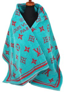 Louis Vuitton Louis Vuitton Beach Towel Logos Shawl Light Blue & Red Cotton Made In Italy