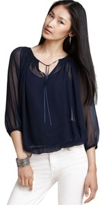 KAS New York Silk Sheer Navy Top