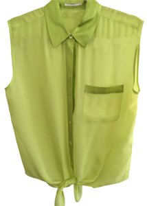 Equipment Sleeveless Sheer Waist Tie Top Lime Green