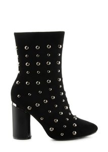 Chunky Heel Stud Suede Boot Black Boots