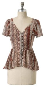 Anthropologie Silk Sheer Brown Ivory Top