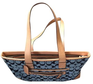 Coach Tote in Light Blue And Tan