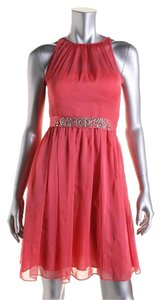 Adrianna Papell Illusion Belted Embellished Dress