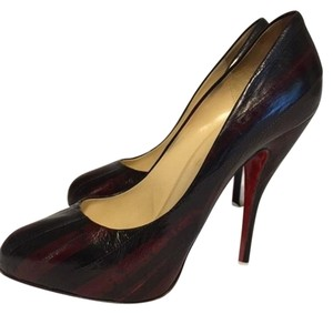 Christian Louboutin Leather Striped Black and Deep Red Pumps