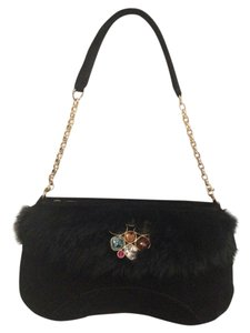 Swarovski Evening Suede Leather Shoulder Bag