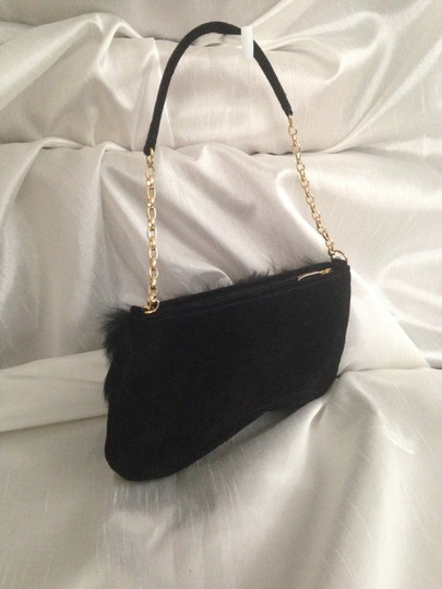 Swarovski Evening Suede Leather Mink Like Accent Gold Hardwrae Colored Crystals Shoulder Bag