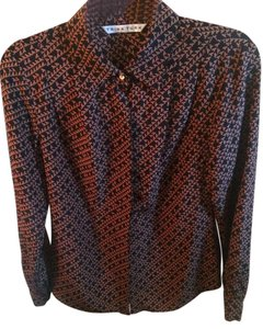 Trina Turk Silk Longsleeve Button Down Shirt Black and brown geometric pattern