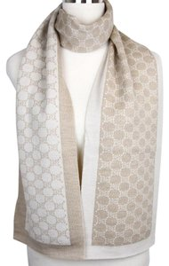 Gucci New Gucci Ivory Beige Wool Guccissima Long Scarf 421068 9778