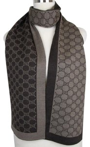 Gucci New Gucci Brown Two Tone Wool Guccissima Long Scarf 421068 2164