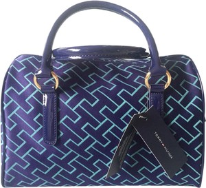 Tommy Hilfiger Satchel in Teal/ Light Green/ Navy Blue