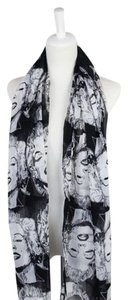 Other Black & White Printed Chiffon Scarf Free Shipping