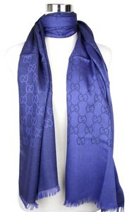 Gucci New Gucci Blue Wool Silk Guccissima Long Scarf 165904 4269