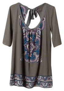 Anthropologie Gray Tie Back Embellished Akemi + Kin Top