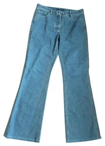 Elie Tahari Stitching Boot Cut Jeans-Medium Wash