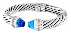 David Yurman Cable Classics 10mm Bracelet with Blue Topaz and Diamonds (Medium)