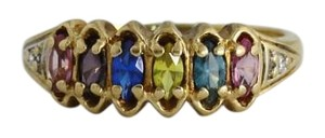 Antique Rainbow Colored Stones 10k Yellow Gold Ring Colorful Gemstone