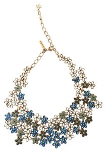 Oscar de la Renta Crystal Flower Bib Necklace