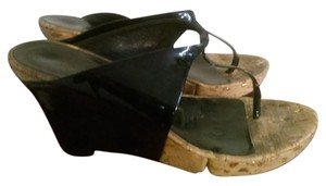 Donna Karan black beige Wedges