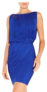 Herv Leger short dress Blue sapphire on Tradesy