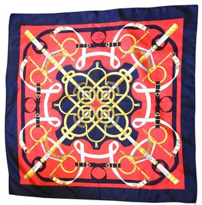 Hermès #8632 Square Scarf 100% Silk 90cm EPERON D'OR D'ORIGNY blue red