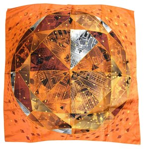 Hermès #8633 Square Scarf 100% Silk 90cm Faubourg by Night orange