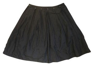 Max Studio Silk Pleated Skirt Black