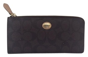 Coach Peyton Signature Coated Canvas and Leather Slim Zip Skinny Wallet