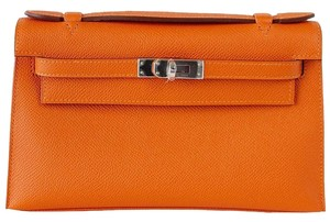 Hermès Hermes Kelly Pochette Orange Feu Clutch