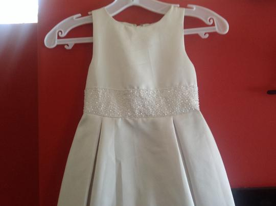 Pearl Crystal Satin Flower Girl Formal Bridesmaid/Mob Dress Size 4 (S)
