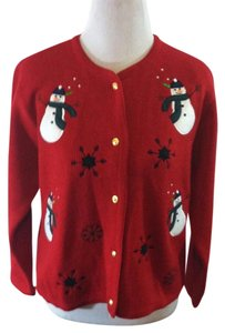 Croft & Barrow Petite Cardigan Snowman Christmas Whimsical Sweater
