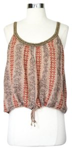 Free People Embroidered Embellished Linen Top Brown
