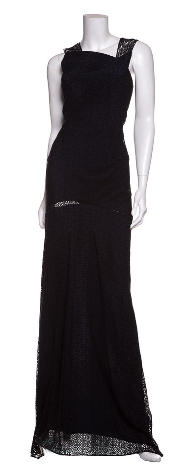 Roland Mouret Black and Blue Lace Sleeveless Gown Long Formal Dress ...