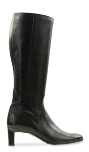 Cole Haan Leather Round Toe Tall Zip Closure Black Boots