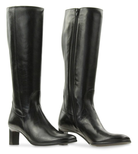 Cole Haan Leather Round Toe Tall Zip Closure Black Boots Image 1
