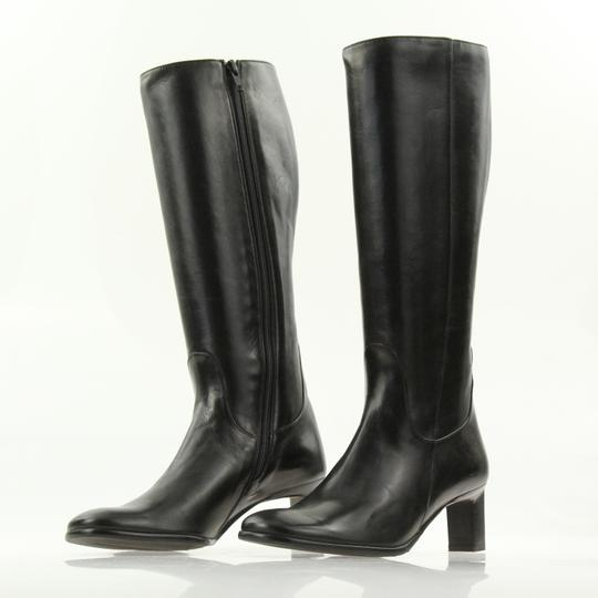 Cole Haan Leather Round Toe Tall Zip Closure Black Boots Image 3