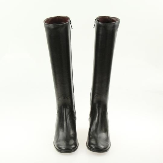 Cole Haan Leather Round Toe Tall Zip Closure Black Boots Image 4
