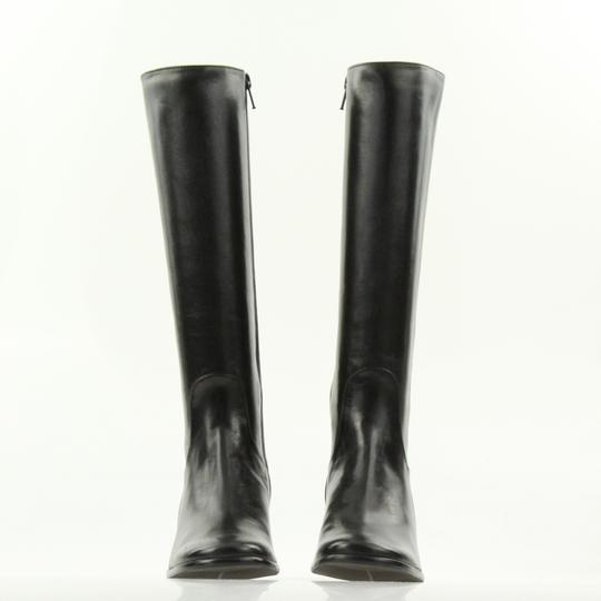 Cole Haan Leather Round Toe Tall Zip Closure Black Boots Image 5