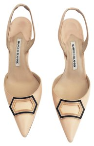 Manolo Blahnik Slingback Trepida Leather Nude Pumps