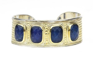 Anna Beck 18K Gold Plated Sterling Silver Multi Sapphire Cushion Cuff