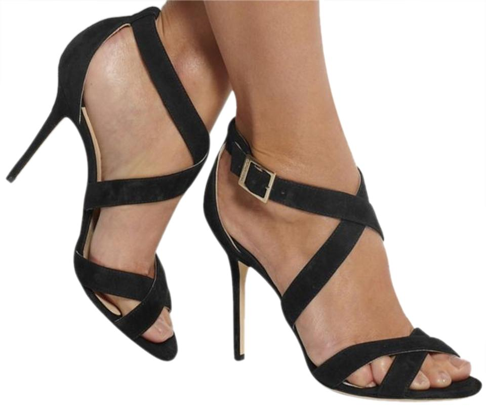6871c84d2ef Jimmy Choo Black Lottie Suede Strappy Sandals Size US 9.5 Regular (M ...