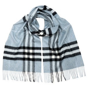 Burberry Giant Check Cashmere Scarf - Slate Blue/Dusty Blue