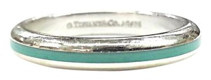 Tiffany & Co. Tiffany & Co Sterling Silver and Blue Enamel Stripe Ring 5.5