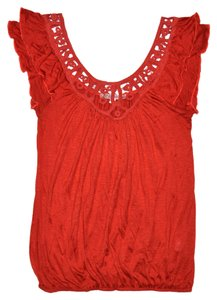 Julie's Closet Feminine Ruffled Top Orange