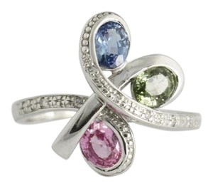 Sapphire Multi Color , Blue Green Pink 14k White Gold Ring