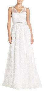 Adrianna Papell Tulle Rosette Chiffon Wedding Dress