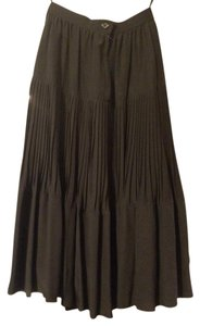 Ann LaMoure Long Silk Flair Skirt Black